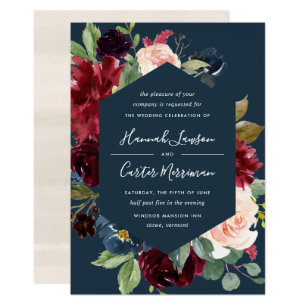 Navy And Pink Wedding Invitations & Announcements | Zazzle