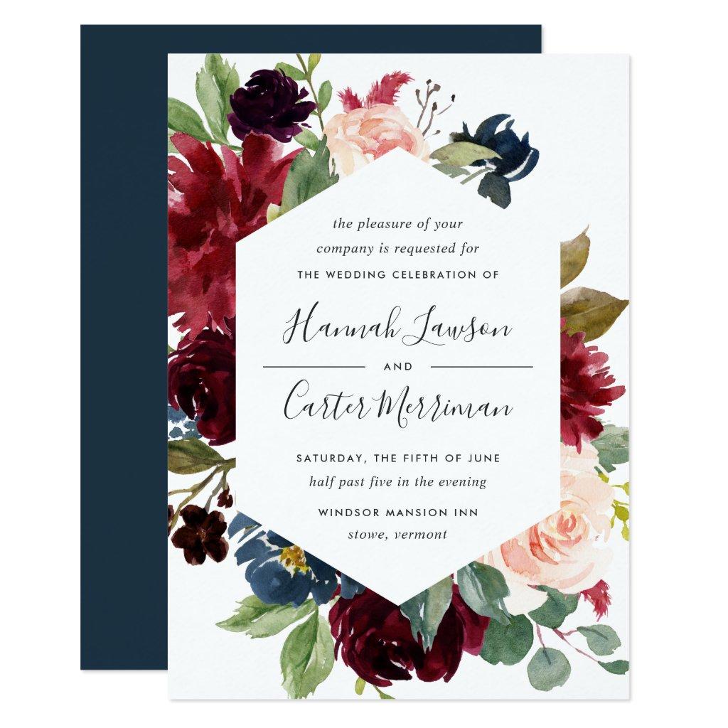 Radiant Bloom Frame Wedding Invitation