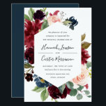 "Radiant Bloom Frame Wedding Invitation<br><div class=""desc"">Our Radiant Bloom wedding invitation surrounds your wedding day details with a geometric frame of painted watercolor flowers in burgundy marsala,  blush pink and navy blue,  with green botanical foliage and eucalyptus leaves. A beautiful choice in lush,  saturated colors for fall or winter weddings.</div>"