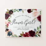 """Radiant Bloom   Personalized Be My Flower Girl Jigsaw Puzzle<br><div class=""""desc"""">Get your flower girl excited about her special role in your wedding with this adorable puzzle that matches our Radiant Bloom wedding collection. Modern watercolor floral design features a border of jewel tone flowers and green foliage,  with decorative typography and charcoal black lettering.</div>"""