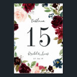 "Radiant Bloom | Personalized Table Number Card<br><div class=""desc"">Garden chic table number cards feature an oval wreath border of green watercolor foliage and vibrantly colored flowers in blush pink, burgundy marsala and navy blue, framing your table number in rich off-black. Personalize with your names and wedding date, or name each table for an extra personal touch. Design repeats...</div>"