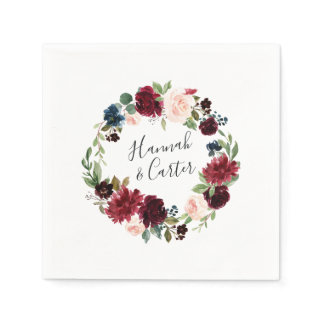 Radiant Bloom Personalized Wedding Napkin