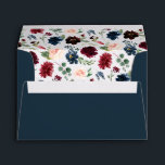 """Radiant Bloom Pre-Printed Return Address 5x7 Envelope<br><div class=""""desc"""">Personalize these deep navy blue envelopes with your return address for a chic finish to your wedding or special event invitations. Envelopes open to reveal our Radiant Bloom floral pattern of burgundy marsala,  blush pink and navy blue flowers with green foliage and leaves.</div>"""