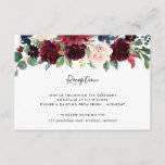 """Radiant Bloom Reception Card<br><div class=""""desc"""">Designed to coordinate with our Radiant Bloom wedding collection,  this elegant botanical reception enclosure card features a spray of burgundy marsala,  blush pink and navy blue flowers with green eucalyptus foliage,  topping your wedding reception details,  venue and timing.</div>"""