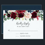 """Radiant Bloom RSVP Card<br><div class=""""desc"""">Designed to coordinate with our Radiant Bloom wedding collection,  this lush floral RSVP card features a spray of watercolor flowers in burgundy marsala,  blush pink and navy blue,  topping your desired response date and custom accept and decline wording.</div>"""
