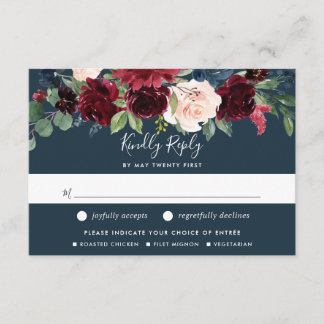 Radiant Bloom RSVP Card w/ Meal Choice