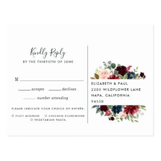 Radiant Bloom RSVP Postcard with Meal Choice