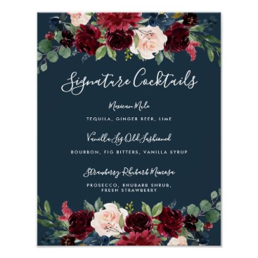 Wedding Themed Radiant Bloom Signature Cocktail Menu Sign