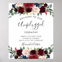 Radiant Bloom Unplugged Wedding Ceremony Sign