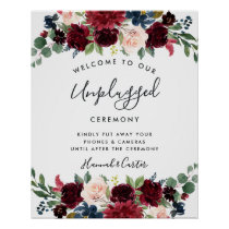 Radiant Bloom Unplugged Wedding Ceremony Sign
