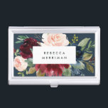 """Radiant Bloom   Watercolor Floral Personalized Business Card Case<br><div class=""""desc"""">Elegant floral business card holder features your name and/or business name framed by a border of lush watercolor flowers in blush pink and burgundy marsala with sage green leaves on a rich navy blue background. Matching business cards and accessories also available.</div>"""