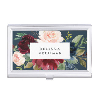 Radiant Bloom | Watercolor Floral Personalized Business Card Case