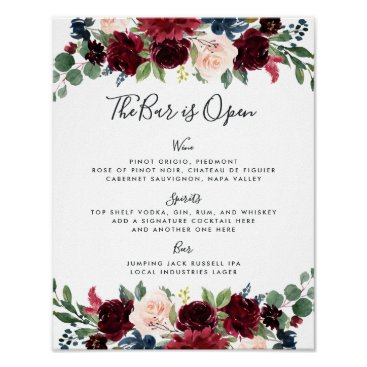 Wedding Themed Radiant Bloom Wedding Bar Menu Sign