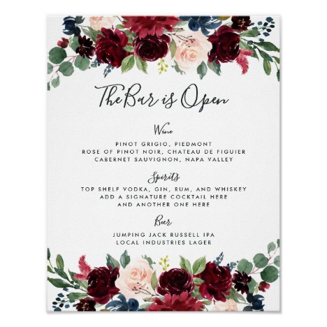 Radiant Bloom Wedding Bar Menu Sign