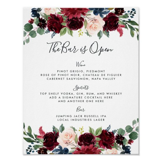 Radiant Bloom Wedding Bar Menu Sign
