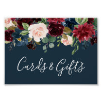 Radiant Bloom Wedding Cards & Gifts Sign | Navy
