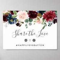 Radiant Bloom Wedding Hashtag Sign