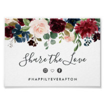Radiant Bloom Wedding Hashtag Sign