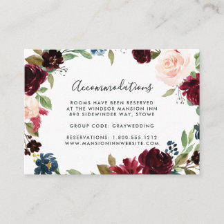Radiant Bloom Wedding Hotel Accommodation Cards