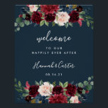 "Radiant Bloom Wedding Welcome Poster<br><div class=""desc"">Welcome guests to your wedding with our Radiant Bloom poster,  featuring jewel tone watercolor flowers and lush botanical greenery,  with &quot;welcome to our happily ever after, &quot; your names,  and wedding date in a chic mix of modern block and hand lettered calligraphy typefaces on a rich navy blue background.</div>"