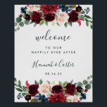 "Radiant Bloom Wedding Welcome Poster<br><div class=""desc"">Welcome guests to your wedding with our Radiant Bloom poster,  featuring jewel tone watercolor flowers and lush botanical greenery,  with &quot;welcome to our happily ever after, &quot; your names,  and wedding date in a chic mix of modern block and hand lettered calligraphy typefaces.</div>"