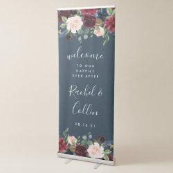 Radiant Bloom Wedding Welcome Retractable Banner