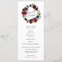 Radiant Bloom Wreath Wedding Ceremony Program