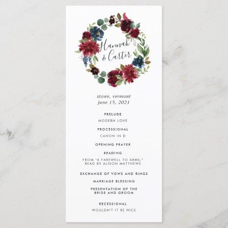 Radiant Bloom Wreath Wedding Ceremony Program