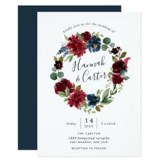 Radiant Bloom Wreath Wedding Invitation
