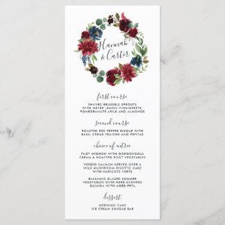 Radiant Bloom Wreath Wedding Menu Card