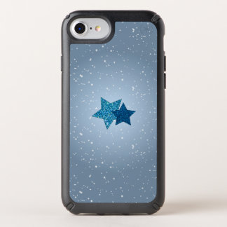 Radiant Blue Glitter Stars Snowy iPhone 8/7/6 Case