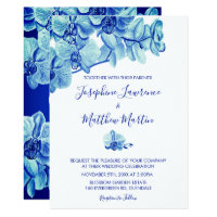 Radiant Blue Orchids Wedding Invitation