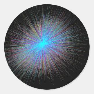Radiant Blue Starburst Classic Round Sticker