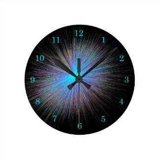 Radiant Blue Starburst Round Clock