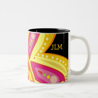 RADIANT BUTTERFLY WITH INITIALS GOODNIGHT Two-Tone COFFEE MUG