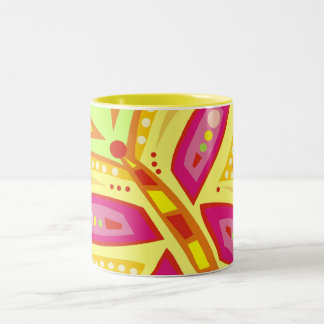 RADIANT BUTTERFLY WITH INITIALS LIME Two-Tone COFFEE MUG