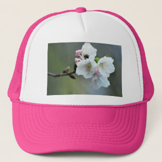 Radiant cherry blossom trucker hat