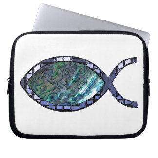 Radiant Christian Fish Symbol Laptop Sleeves
