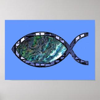 Radiant Christian Fish Symbol Posters