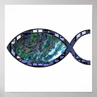 Radiant Christian Fish Symbol Poster