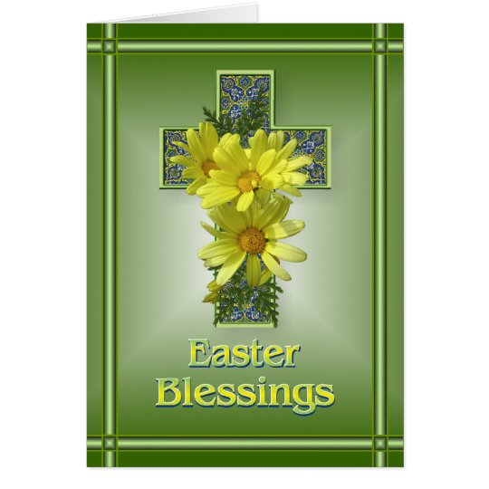 Radiant Cross Easter Blessings Greeting Card