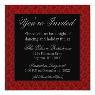 Radiant Damask Christmas Party Invite, Red Card