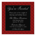 """Radiant Damask Christmas Party Invite, Red 5.25"""" Square Invitation Card"""