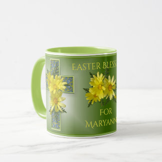 Radiant Easter Blessings Yellow Daisies Custom Mug