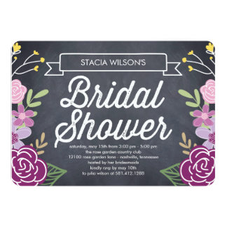 "Radiant Floral Bridal Shower Invitation - Purple 5"" X 7"" Invitation Card"