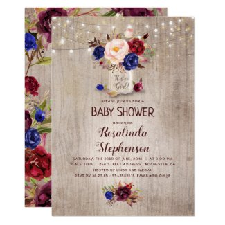Radiant Floral Mason Jar Rustic Baby Shower Invitation