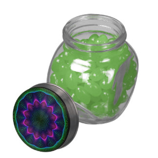 Radiant Flowers Mandala, Abstract Pink Green Glass Jar