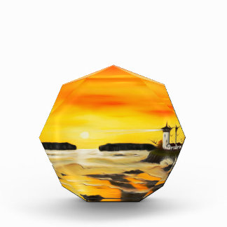 Radiant Golden Lighthouse Sunset - Dreamy Mirage Acrylic Award