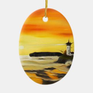 Radiant Golden Lighthouse Sunset - Dreamy Mirage Ceramic Ornament