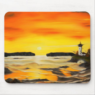 Radiant Golden Lighthouse Sunset - Dreamy Mirage Mouse Pad